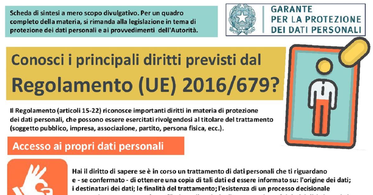I diritti previsti dal Regolamento UE sulla Privacy (GDPR)